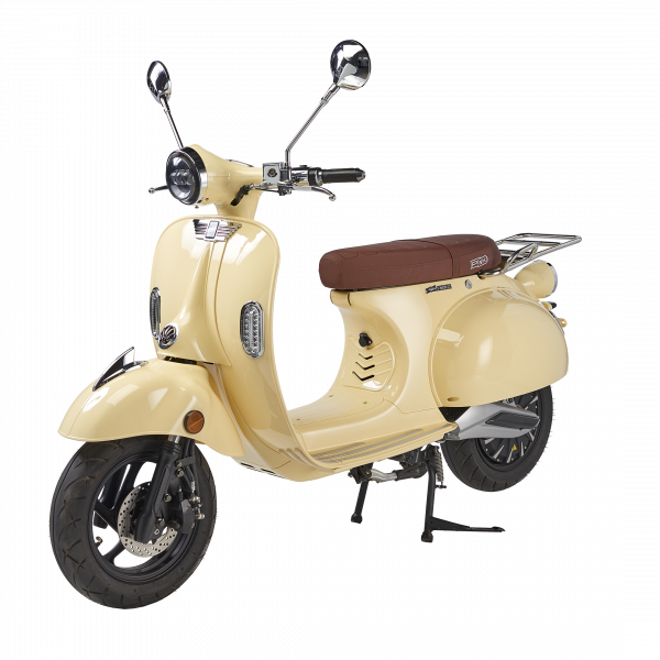 Image PinkStyle PLUS (125cc) 2021 couleur sable + pack batterie Lithium 4,2 kWh + chargeur 72V10A